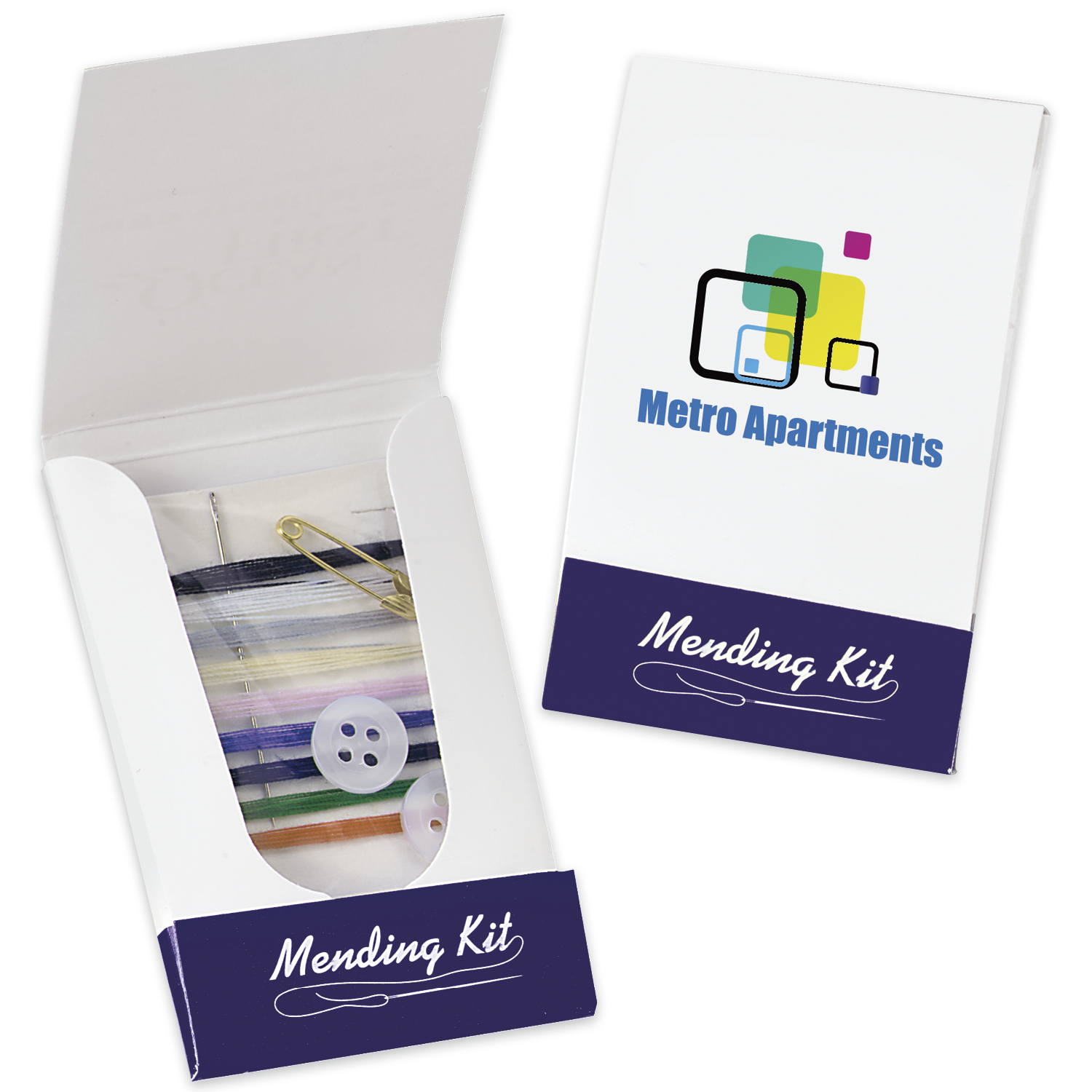 Custom Mending Pocket Pack Sewing Kit - Full Colour Imprint