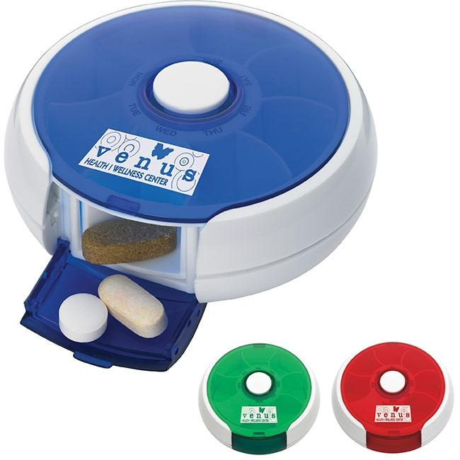 Round Twist Pill Box - 1 Colour Imprint