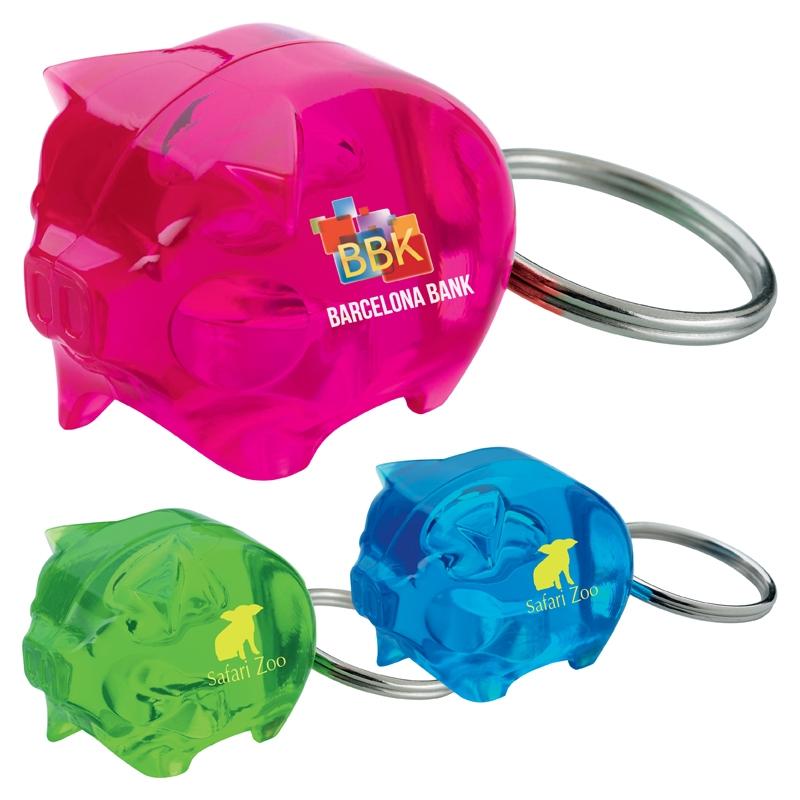 Stylish Piggy Bank Keychain - 1 Colour Imprint