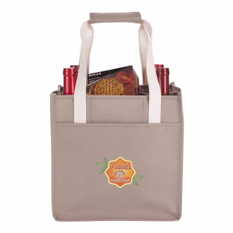 4-Bottle Wine Tote Bag - 1 Colour Imprint