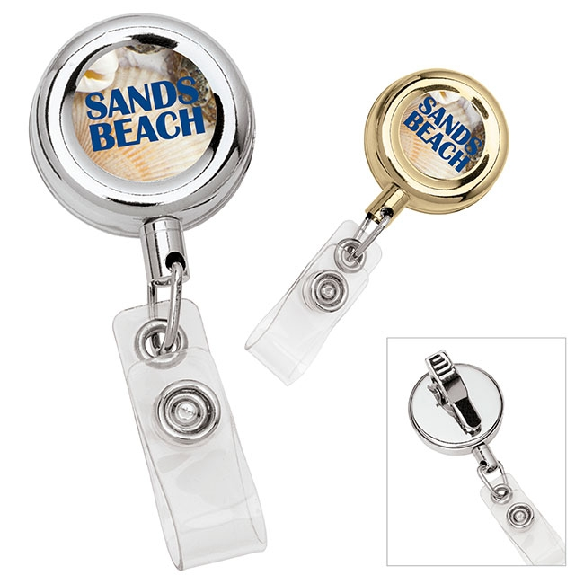 Round Metal Retractable Badge Holder - Full Colour Imprint