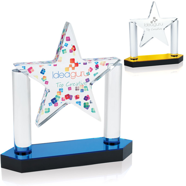 Jaffa Acrylic Floating Star Award - Laser Engraved Imprint, #36812