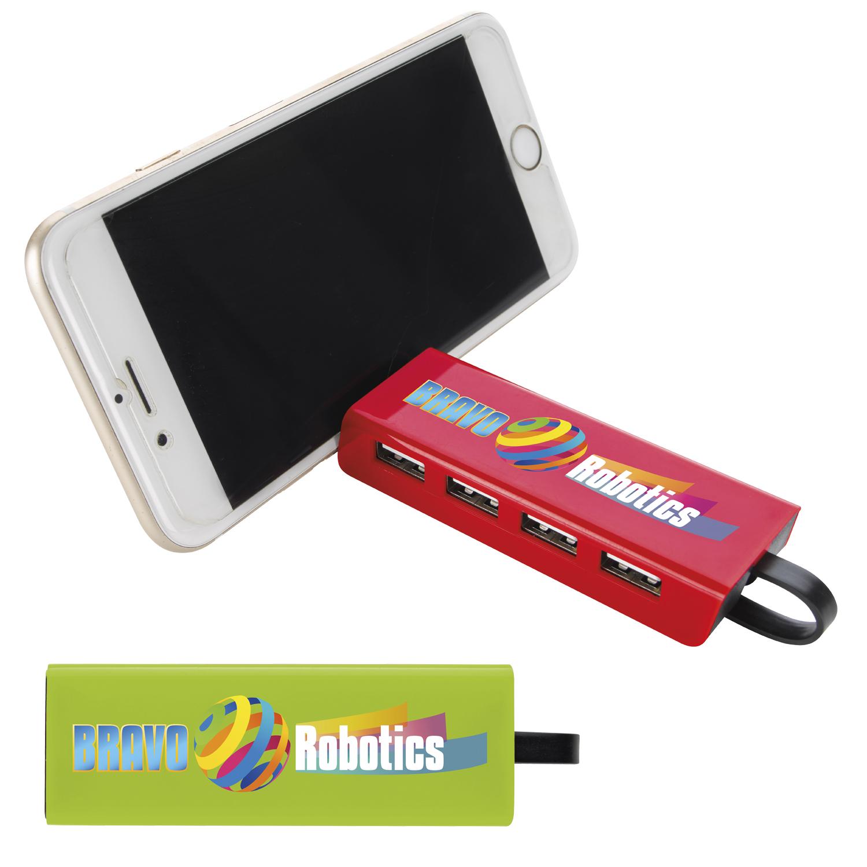 4 Port USB Hub & Phone Stand - 1 Colour Imprint