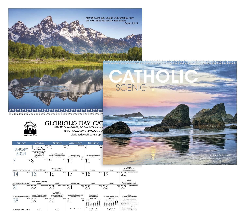 Triumph Catholic Scenic Executive Calendar, #2504, 1 Colour Imprint