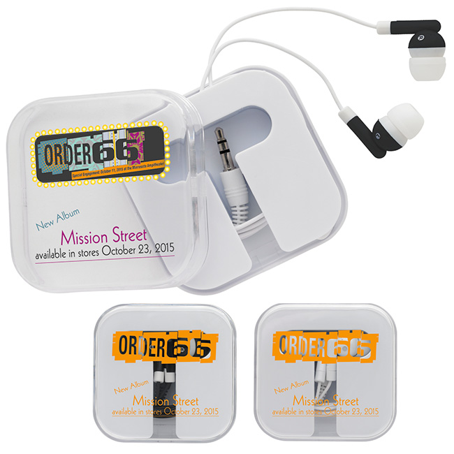 Earbuds w/ Carry Case - 1 Colour Imprint