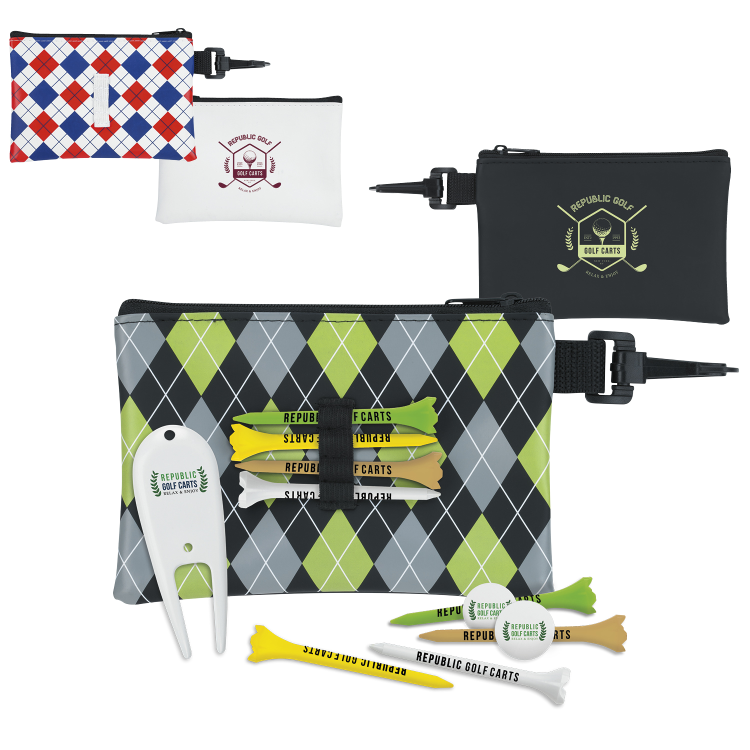 Pattern Golf Pouch Tee Kit (3 1/4