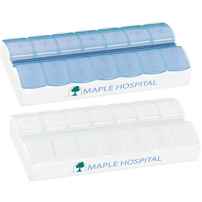 AM/ PM Jumbo Easy Scoop Pill Box - 1 Colour Imprint