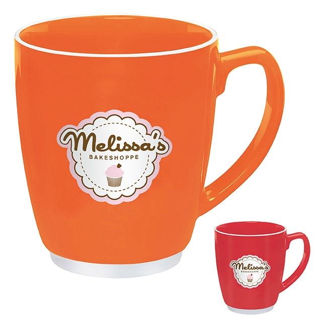 20 Oz. Large Color Bistro Mug w/Accent (Orange or Red) - 1 Colour Imprint