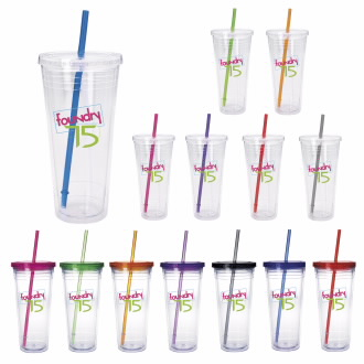 Clear Tumbler w/ Colored Lid (24 Oz.) - 1 Colour Imprint, #45963