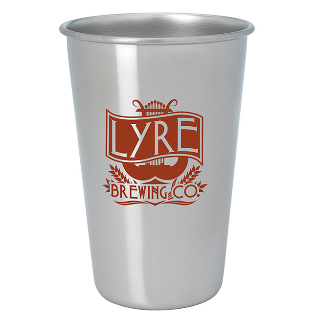 16 Oz. Stainless Pint Glass - Silver - 1 Colour Imprint, #46066