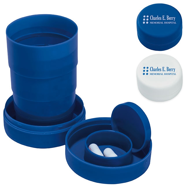 Travel Cup w/ Pill Compartment - 1 Colour Imprint