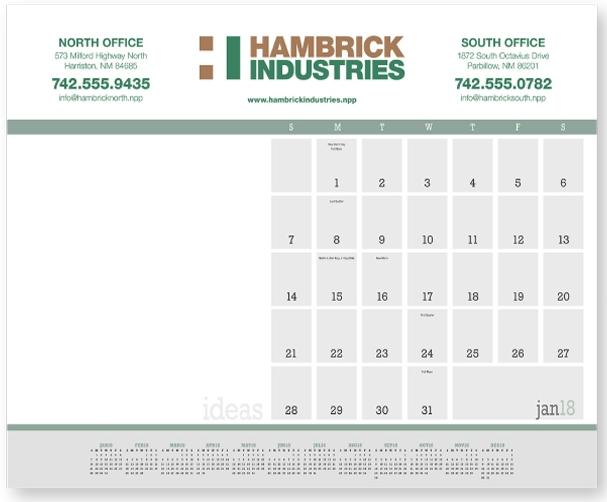 Triumph Ideas Desk Pad Calendar, #6516, 1 Colour Imprint