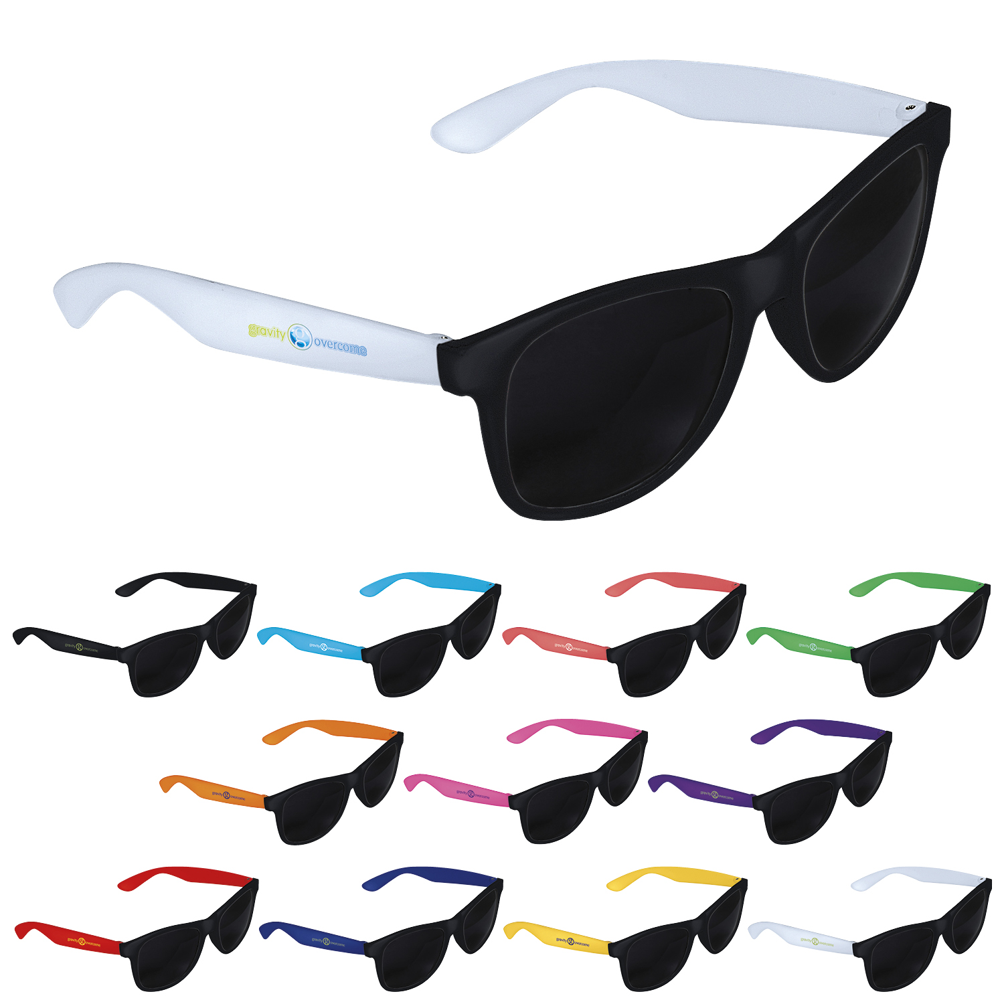 GoodValue Two-Tone Black Frame Sunglasses, #26045, 1 Colour Imprint