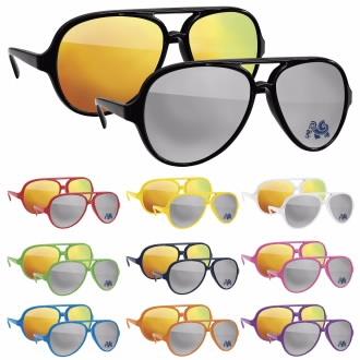 Plastic Aviator Mirror Sunglasses, #26110, 1 Colour Imprint