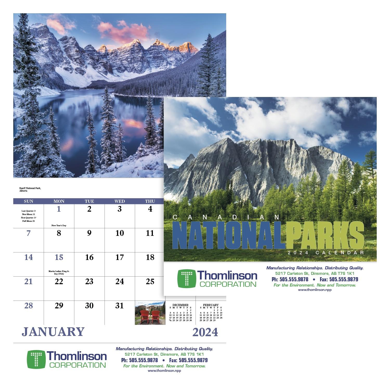 Canadian National Parks Calendar - Stapled, #7313, 1 Colour Imprint
