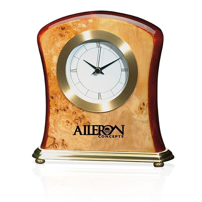 Jaffa Burlwood Clock - Laser Engraved Imprint, #36273
