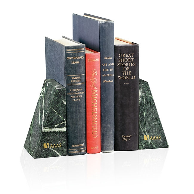 Jaffa Verde Marble Bookends - Deep Etch Imprint