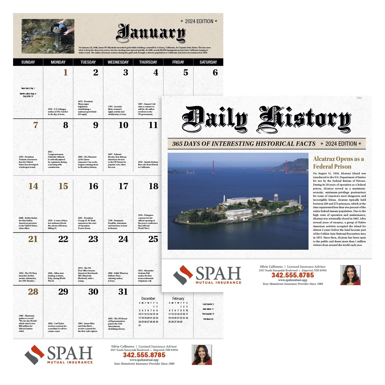 GoodValue Daily History 2020 Calendar (Stapled), #7252, 1 Colour Imprint
