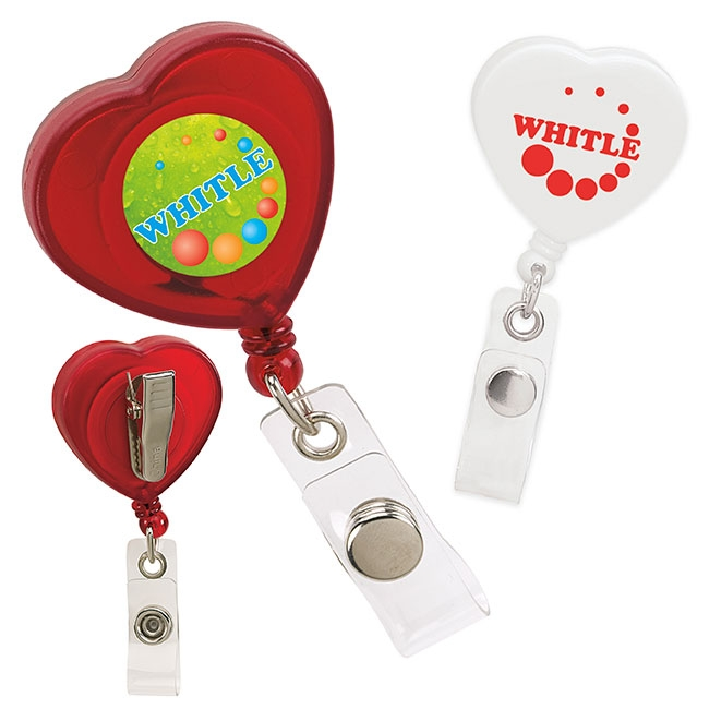 Caring Heart Retractable Badge Holder - 1 Colour Imprint