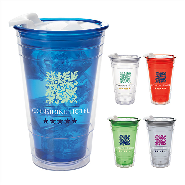 16 Oz. Double Wall Party Cup w/ Lid - 1 Colour Imprint