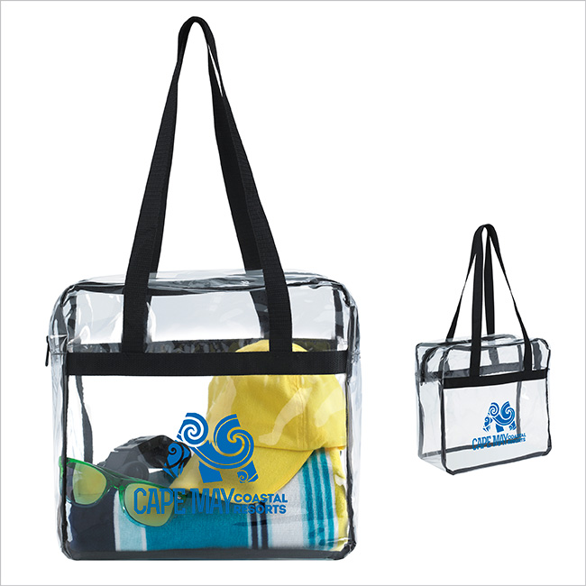 Clear Zippered Tote Bag - 1 Colour Imprint
