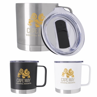 16 Oz. Double Wall Camper Metal Mug, #46225, 1 Colour Imprint