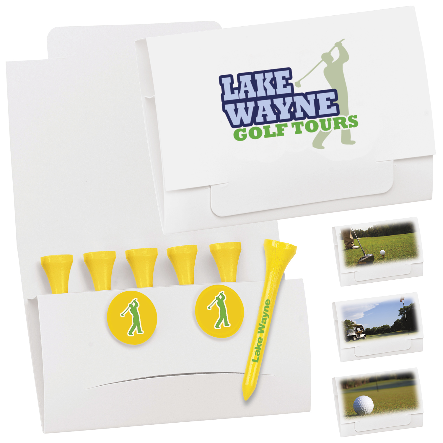 6-2 Golf Tee Packet w/ 2 Ball Markers - 2 1/8