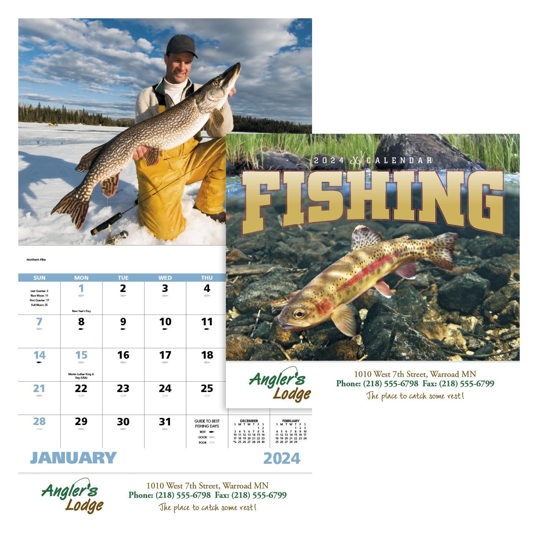 GoodValue Fishing Calendar (Stapled), #7299, 1 Colour Imprint