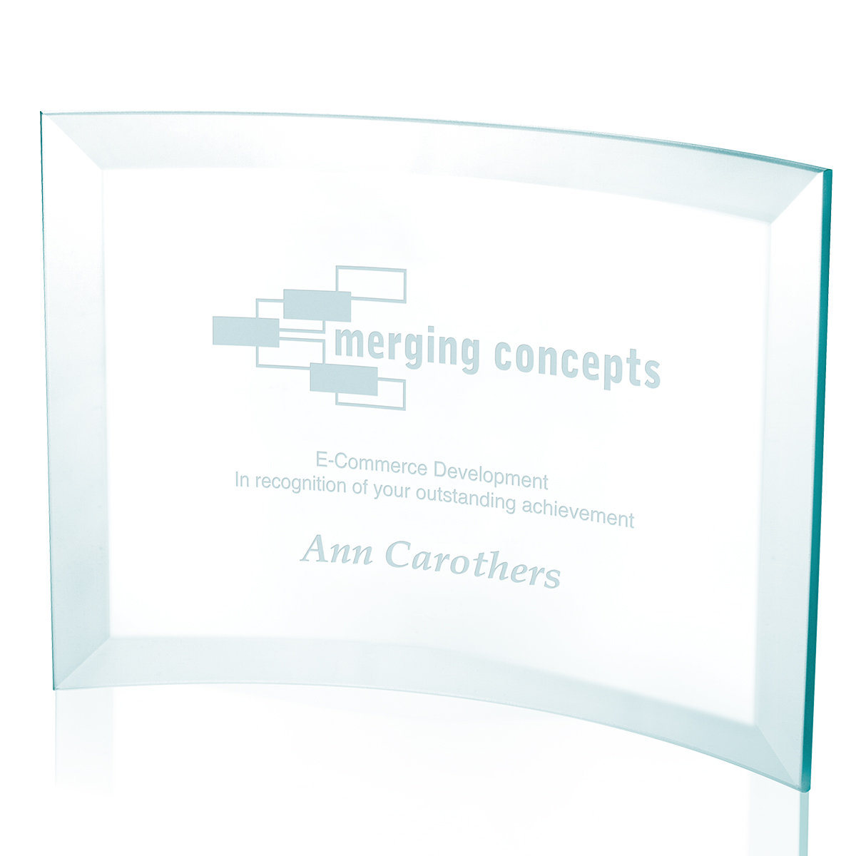 Jaffa Small Jade Crystal Scroll Award - Deep Etch Imprint
