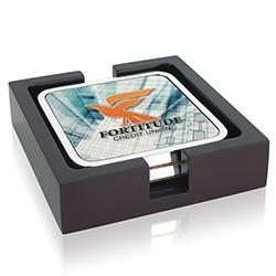 Jaffa 2 Square Radiant Coasters w/ Wood Tray - Full Colour Imprint, #36855