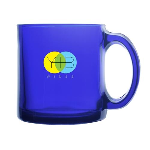13 Oz. Cobalt Warm Beverage Glass Mug (Etch)