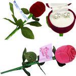 Custom Cubic Zirconia Earrings w/ Long Stem Rose