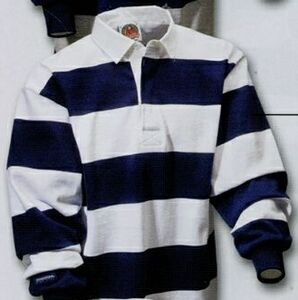 Stripes Rugby Shirt White Navy Blue