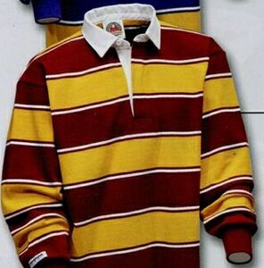 9ea556ef Soho Stripes Rugby Shirt (Maroon, Gold & White) - STK205 - IdeaStage  Promotional Products