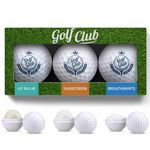 Custom 3 Pack Golf Ball Lip Balm, Mints & Sunscreen