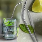 Custom Bent Silver Stainless Steel Straw (Qty 1)