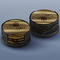 4 Acacia Wood Round Coasters W/Black Metal