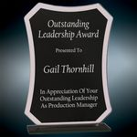Custom Black Rectangle Reflection Glass Award