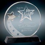 Custom Large Round Crystal w/Silver Star Award