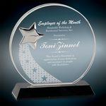Custom Round Crystal w/Silver Star Award