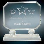 Custom Medium Rectangle Crystal w/Facet Accents & Clear Base Award