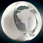 Custom Large Crystal Globe Paperweight Award