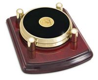 Leather and Brass Round 2 Coaster Set w/Rosewood Base