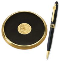 Brass Leather Coaster & Pen Set - Gold