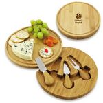 Custom Bamboo Swivel Cheese Board with Knife Set
