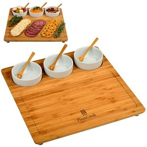Bamboo Charcuterie Serving Board with 3 Ceramic Bowls