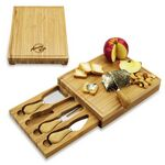 Custom Bamboo Board with 4 Cheese Tools in a drawer