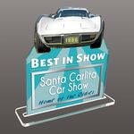 Custom 35 Square Inch Custom Acrylic Desk Plaque W/ Stand