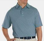 FootJoy® ProDry® Performance Lisle Feeder Stripe Shirt w/Self Collar (Deep Blue+Mint)