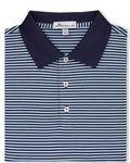 Custom Peter Millar Classic Stripe Cotton Lisle Polo Shirt w/Sean Self Collar
